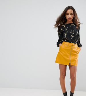 Fashion Union Petite Мини-юбка из искусственной кожи с молнией. Цвет: желтый