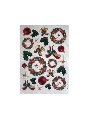 Декупажная карта 32*45 Рождественские венки Idigo. Цвет: сиреневый, прозрачный