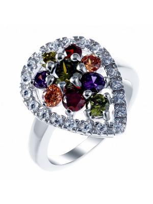 Кольцо Teosa. Цвет: серебристый, фиолетовый, красный, желтый, зеленый