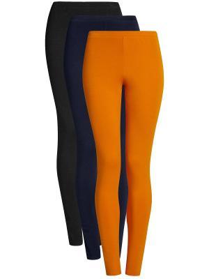 Леггинсы-3шт. Oodji. Цвет: черный, оранжевый, темно-синий