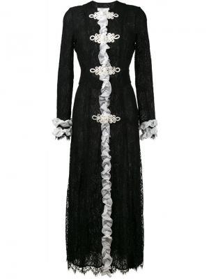 Платье макси с рюшами Alessandra Rich. Цвет: чёрный