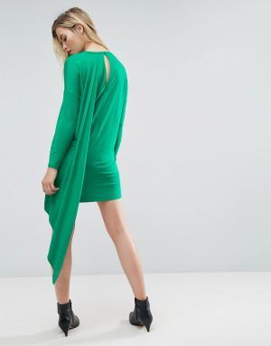 ASOS Платье-футболка с кейпом на спине. Цвет: зеленый