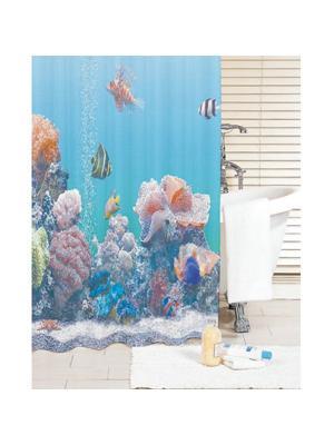 Штора для ванной IDDIS. Цвет: синий, голубой
