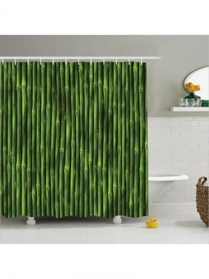 Фотоштора  для ванной, 180x200 см Magic Lady. Цвет: темно-синий, зеленый, светло-зеленый