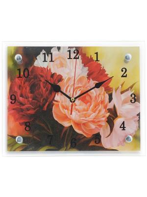 Настенные часы Пионы 20х25 В945 PROFFI. Цвет: бордовый, розовый