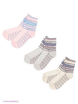 Носки, 3 пары Гамма. Цвет: серый, желтый, бирюзовый