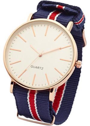 Часы на текстильном ремешке (темно-синий/красный) bonprix. Цвет: темно-синий/красный