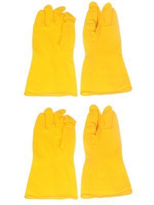 Латексные перчатки для уборки, размер L, желтые, 2 пары Радужки. Цвет: желтый