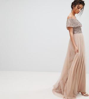 Maya Tall Асимметричное платье из тюля с пайетками на лифе. Цвет: коричневый