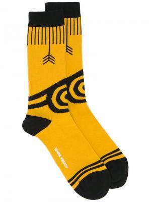 Носки Pointing Arrows Henrik Vibskov. Цвет: жёлтый и оранжевый