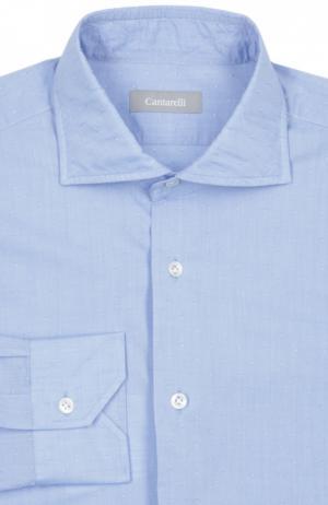 Сорочка из фактурного хлопка с воротником акула Cantarelli. Цвет: голубой