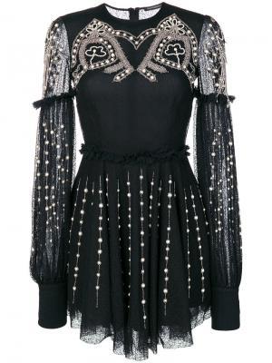 Расклешенное платье с отделкой Wandering. Цвет: чёрный