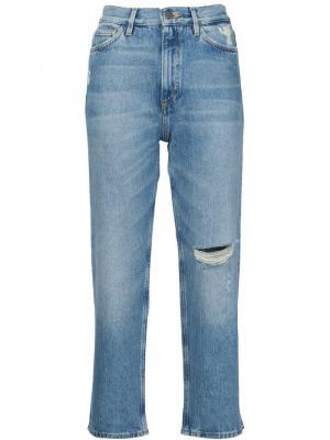 Джинсы с потертой отделкой Mih Jeans. Цвет: синий
