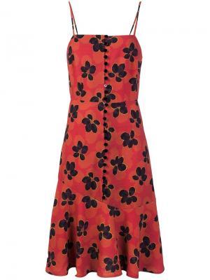 Расклешенное платье с цветочным принтом Suno. Цвет: красный