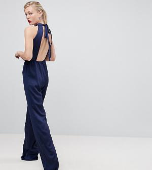 True Violet Tall Комбинезон с халтером и открытой спиной. Цвет: темно-синий