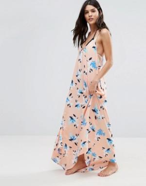 Vince Camuto Пляжное платье макси с узором. Цвет: розовый