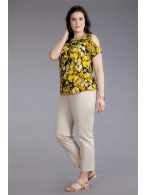Блузка AVERI. Цвет: зеленый, коричневый, золотистый, желтый