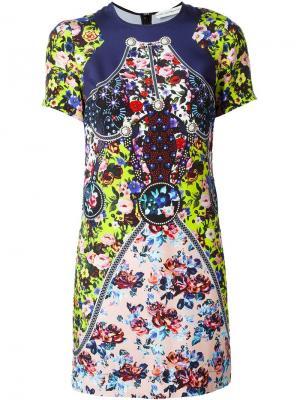 Платье с цветочным принтом Mary Katrantzou. Цвет: розовый и фиолетовый