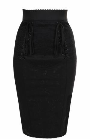 Кружевная юбка-карандаш со шнуровкой Dolce & Gabbana. Цвет: черный
