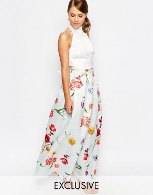 True Violet Сатиновая бальная юбка макси. Цвет: мульти