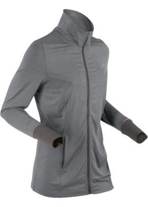 Спортивная трикотажная куртка с длинным рукавом (дымчато-серый меланж) bonprix. Цвет: дымчато-серый меланж