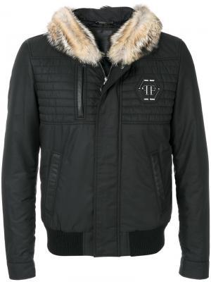 Пальто с капюшоном Philipp Plein. Цвет: чёрный