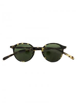 Солнцезащитные очки в круглой оправе Hakusan. Цвет: зелёный