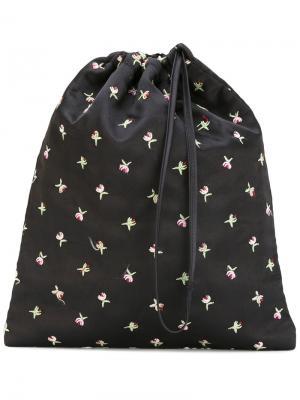 Сумка с цветочной вышивкой Attico. Цвет: чёрный