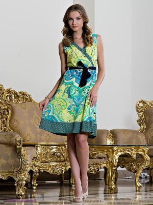 Платье Comma. Цвет: светло-голубой, желтый, светло-зеленый