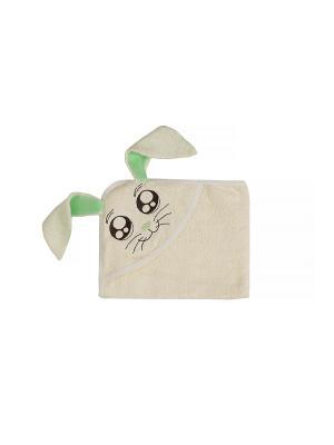 Полотенце с капюшоном FUN DRY ЗАЙКИ, цвет Светло-бежевый зелеными ушками Twinklbaby. Цвет: светло-бежевый