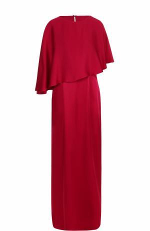 Однотонное платье-макси с кейпом St. John. Цвет: бордовый