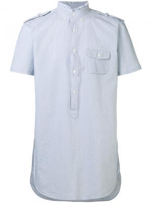 Рубашка с необработанной горловиной Lardini. Цвет: синий