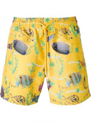 Плавательные шорты с принтом рыб Vilebrequin. Цвет: жёлтый и оранжевый