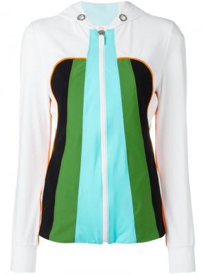 Куртка на молнии с капюшоном No Ka Oi Ka'. Цвет: белый