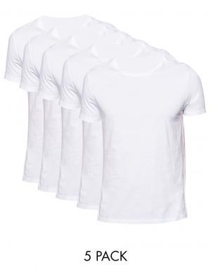 ASOS 5 футболок с круглым вырезом. Цвет: мульти