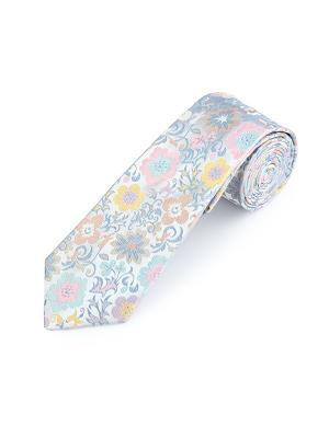 Галстук Exotic Blooms White Duchamp. Цвет: светло-зеленый, бледно-розовый, желтый, светло-бежевый, светло-голубой, светло-желтый, серо-голубой