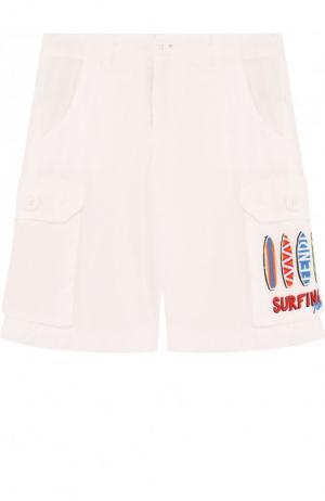 Хлопковые шорты с накладными карманами Fendi Roma. Цвет: белый