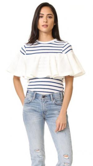 Комбинированная футболка в стиле рубашки с оборками Sea. Цвет: белый/синяя полоска
