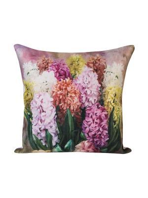 Декоративная наволочка Гиацинты Рапира. Цвет: сиреневый, желтый, розовый