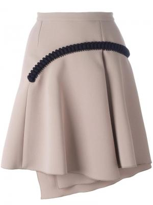 Плиссированная юбка с аппликацией Carven. Цвет: телесный