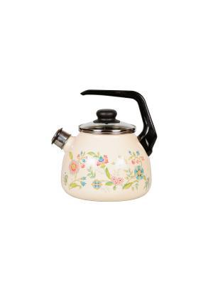 Чайник 3,0 л, со свистком,  СтальЭмаль. Цвет: розовый