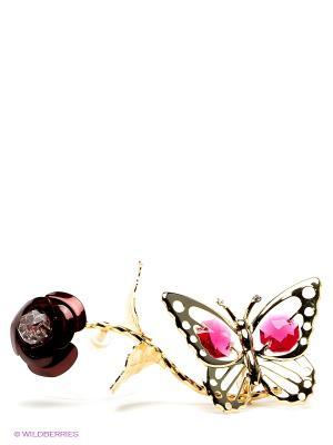 Фигурка на липучке Бабочка бордовой розе Юнион. Цвет: золотистый