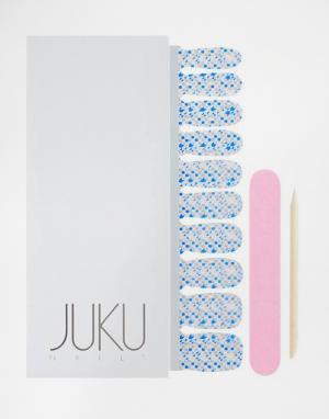 JUKU Nails Накладные ногти с принтом конфетти. Цвет: синий