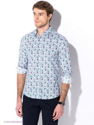 Рубашка Oodji. Цвет: белый, синий