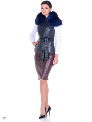 Кожаный жилет Adamo.. Цвет: темно-синий
