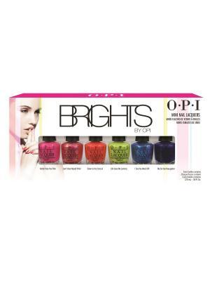 Opi Мини лаки из коллекции Brights Edition  - NLN33/36/38 NLA72/73/76 6*3,75 мл. Цвет: голубой, красный, коралловый, розовый, синий, зеленый