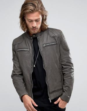 Goosecraft Темно-серая кожаная байкерская куртка со стегаными плечами. Цвет: серый