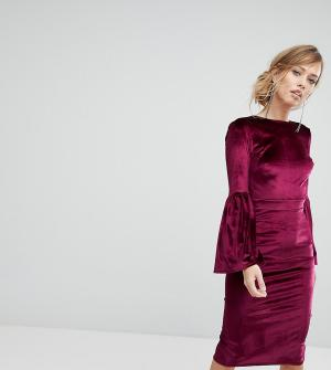 True Violet Бархатное платье миди с открытой спиной. Цвет: красный