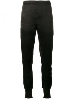 Фактурные брюки с заниженным шаговым швом Ann Demeulemeester. Цвет: чёрный