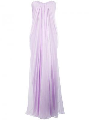 Вечернее платье с драпировкой Alexander McQueen. Цвет: розовый и фиолетовый